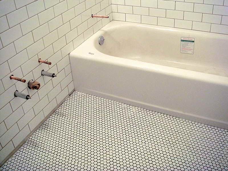 Floors style of modern penny round tile for unique for Unusual bathroom flooring ideas