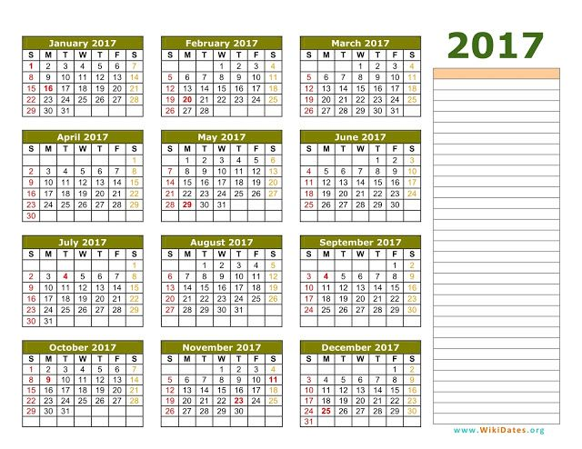 2017 Calendar Template 01 Printable Calendar Hijri Calendar
