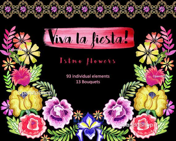 Mexican Flowers Watercolor Flowers Fiesta Mexicana Clipart Png