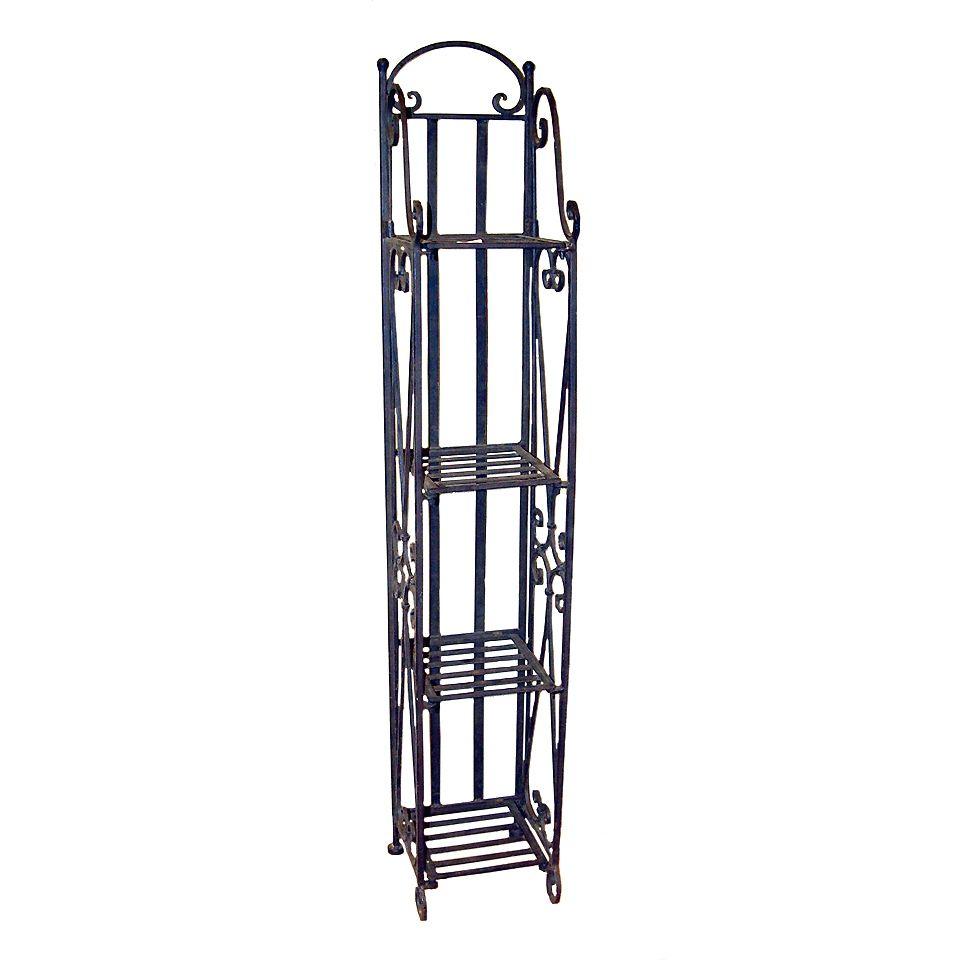 Wrought iron shelves bathroom - Rod Iron Shelves Etagere Narrow Wrought Iron Four Shelf Unit