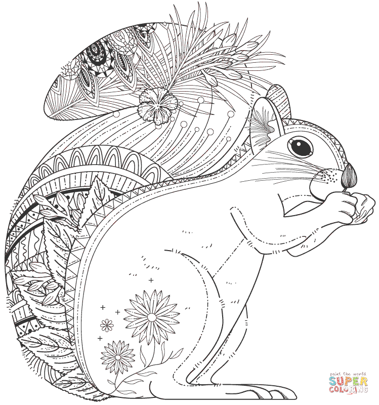 Squirrel zentangle super coloring