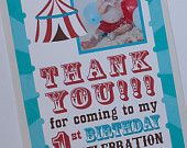 Carnival Circus Thank you Card - Come One Come All