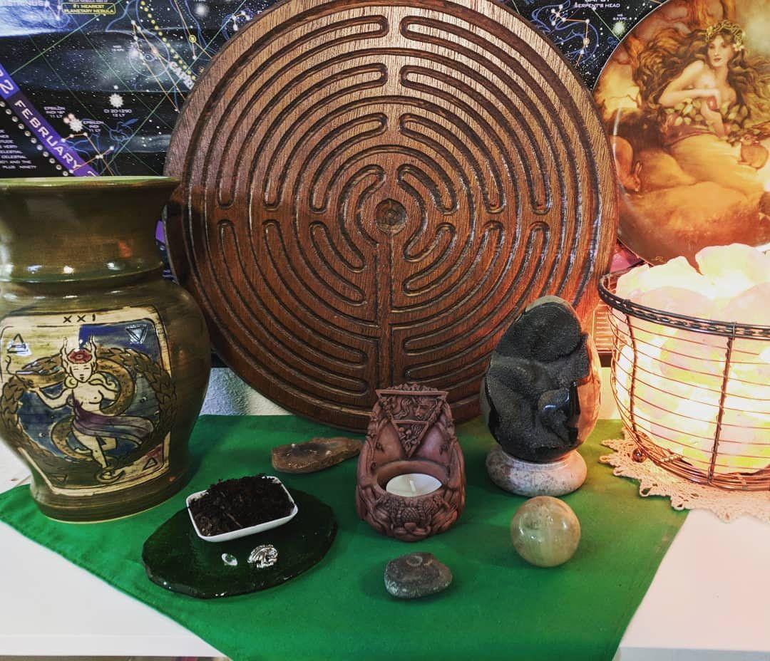 Finger labyrinth wood carving altar top pagan wall decor