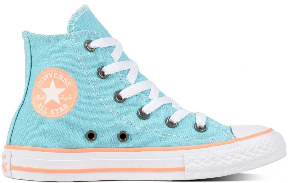 4166f4c77d7d Converse Chuck Taylor All Star Kids Hi Top Bleached Aqua Crimson Pulse White