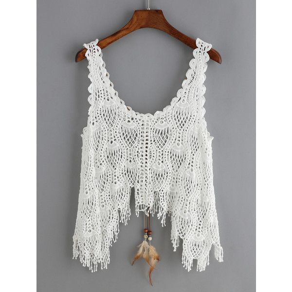 Crochet Hollow Lace Up Asymmetrical Tank Top ($6.99) ❤ liked on ...