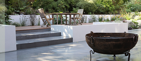 Garden Design Decking Areas contemporary garden decking area with low rendered white walls
