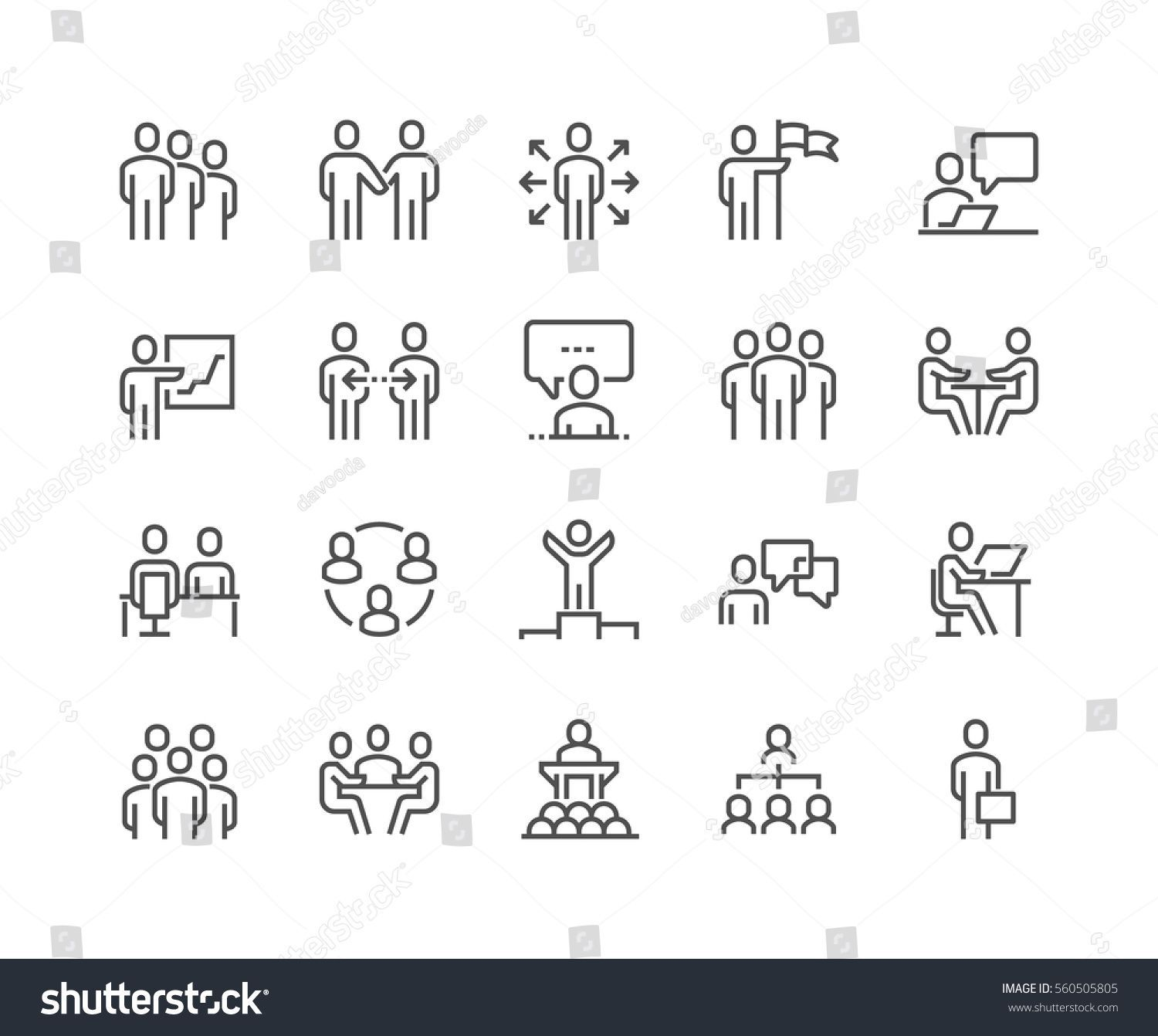 Simple Set Of Business People Related Vector Line Icons Contains Such Icons As One On One Meeting Workplace Busine Facilitation Graphique Pictogramme Picto