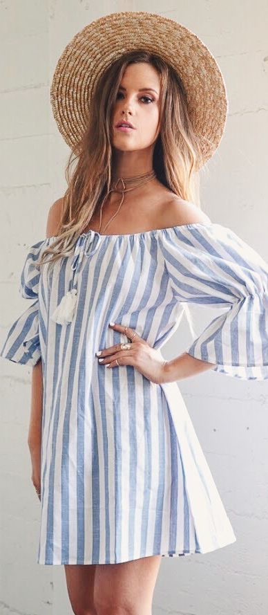 0307f3247427 Haute   Rebellious - THE WEEKEND STRIPED OFF SHOULDER DRESS
