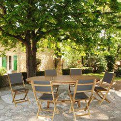 Salon De Jardin Teck Alpilles Table 150 210 6 Chaises Teck