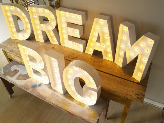 dream big letters with lights on etsy