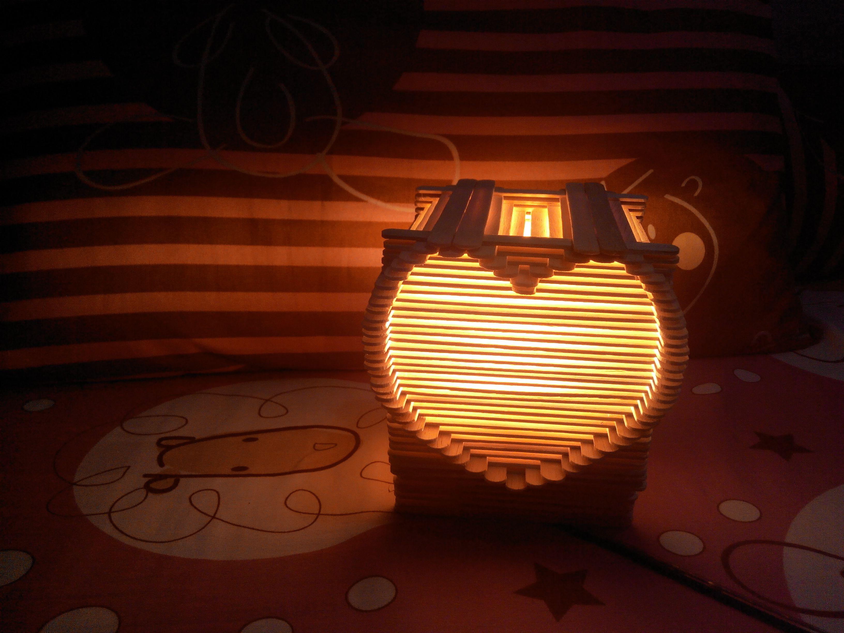 Night Lamp From Stick Ice Cream Craft Stick Crafts Popsicle