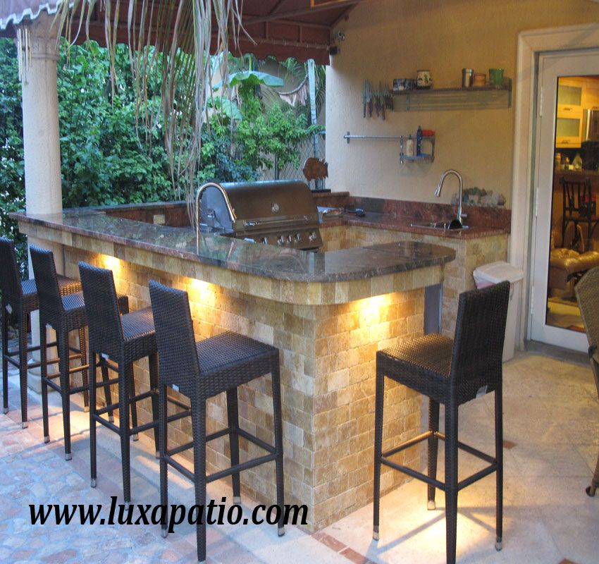 I Wonder What It Would Look Like If I Did Rope Lights Under The Island In The Kitchen Outdoor Kitchen Outdoor Kitchen Patio Backyard Kitchen