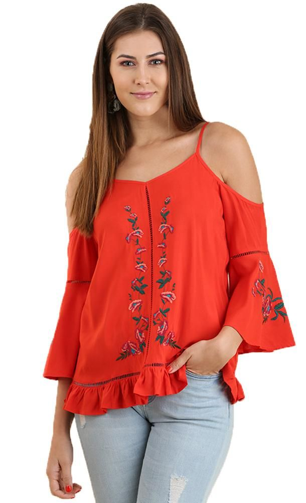 f4fd87883a8ddf Umgee Women s Coral Embroidered Cold Shoulder Top With Lace Detail ...