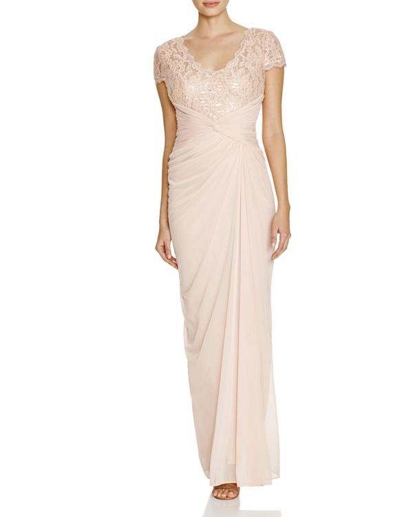 Adrianna Papell V-Neck Lace Detail Gown
