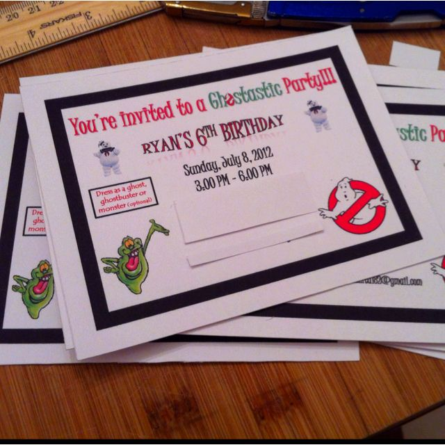 DIY ghostbusters birthday invitation with magnetic tape on the