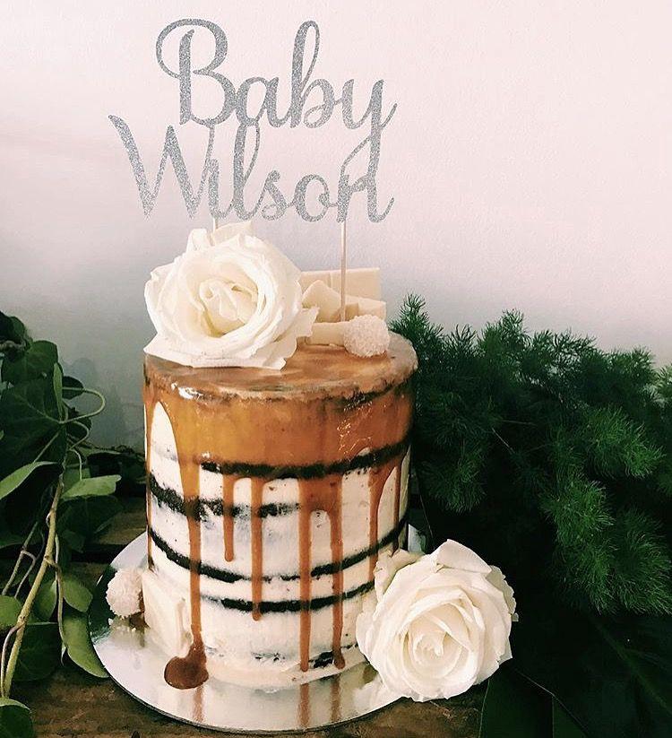 Baby Shower Cake - White Chocolate Buttercream, Salted Caramel Drip, Chocolate Cake, Fresh Florals