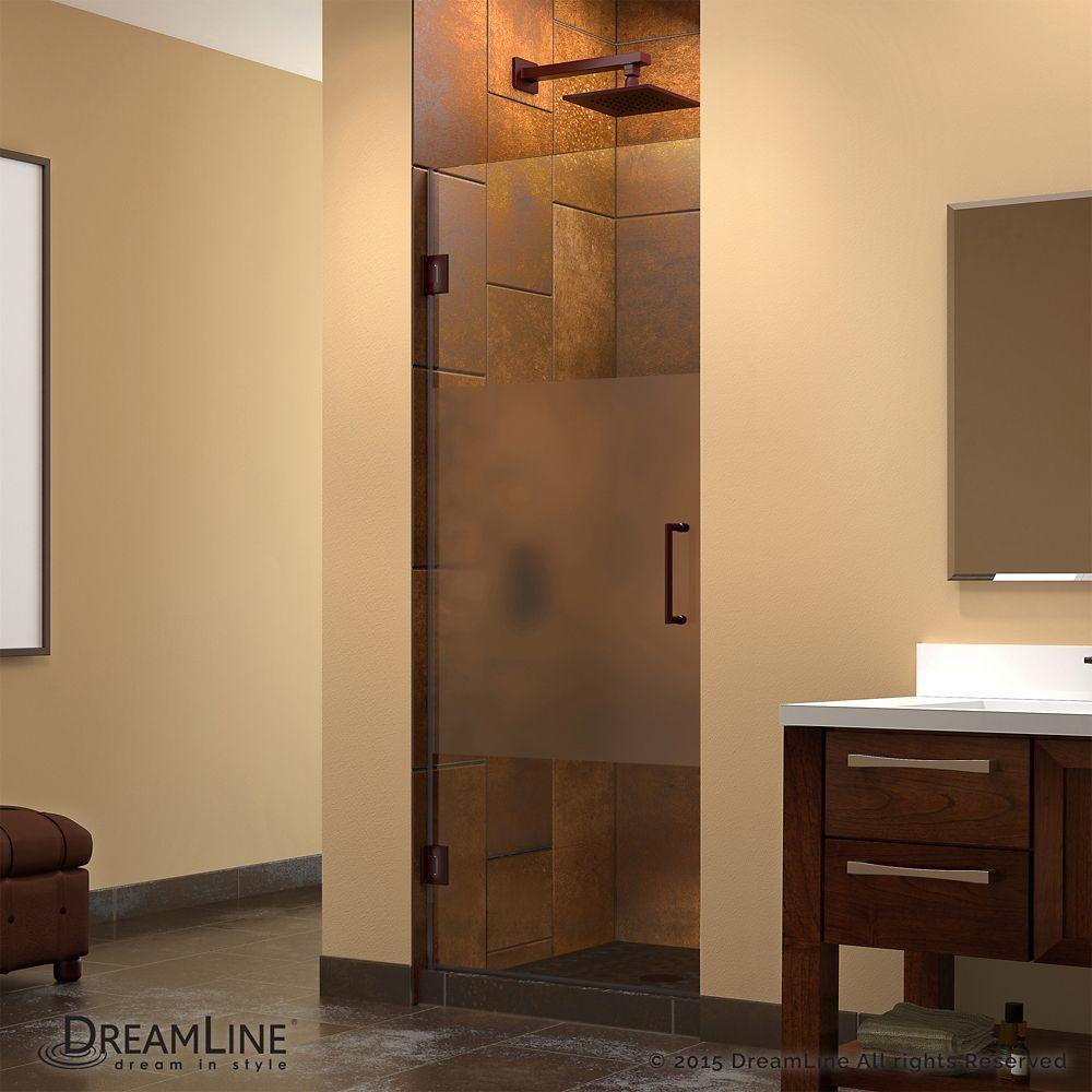 Unidoor 28-inch x 72-inch Frameless Hinged Pivot Shower Door with ...