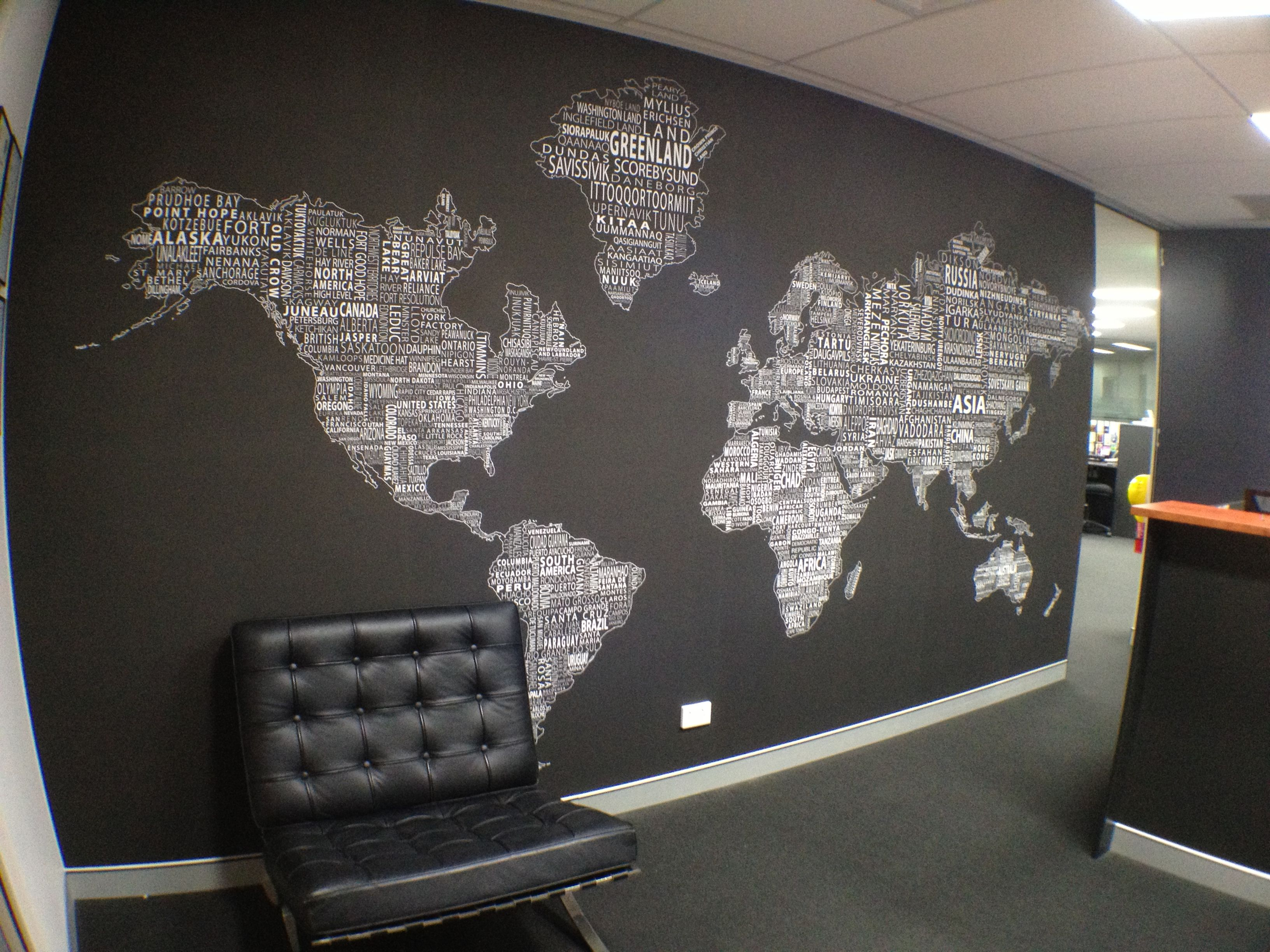 Worldtextmap white black installed in office homegoods decorating world map wall decor for modern office design with black and white color schemes cool world maps for wall decoration in your house publicscrutiny Images