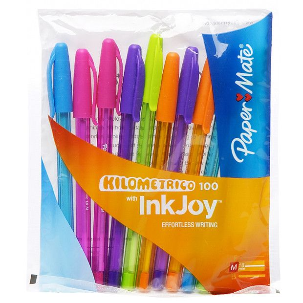 Papermate Kilometrico 100 Ink Joy Pens Bright Colours 10 Pack