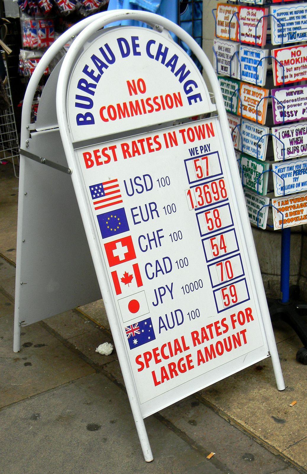 Exchange Rate Sign Bureau De Change Coventry Street London 21st July