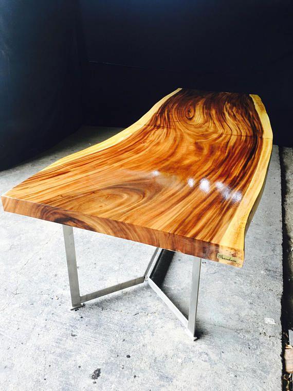 Mesa de comedor cristal freeform acacia hechas a mano con - Mesas de madera hechas a mano ...