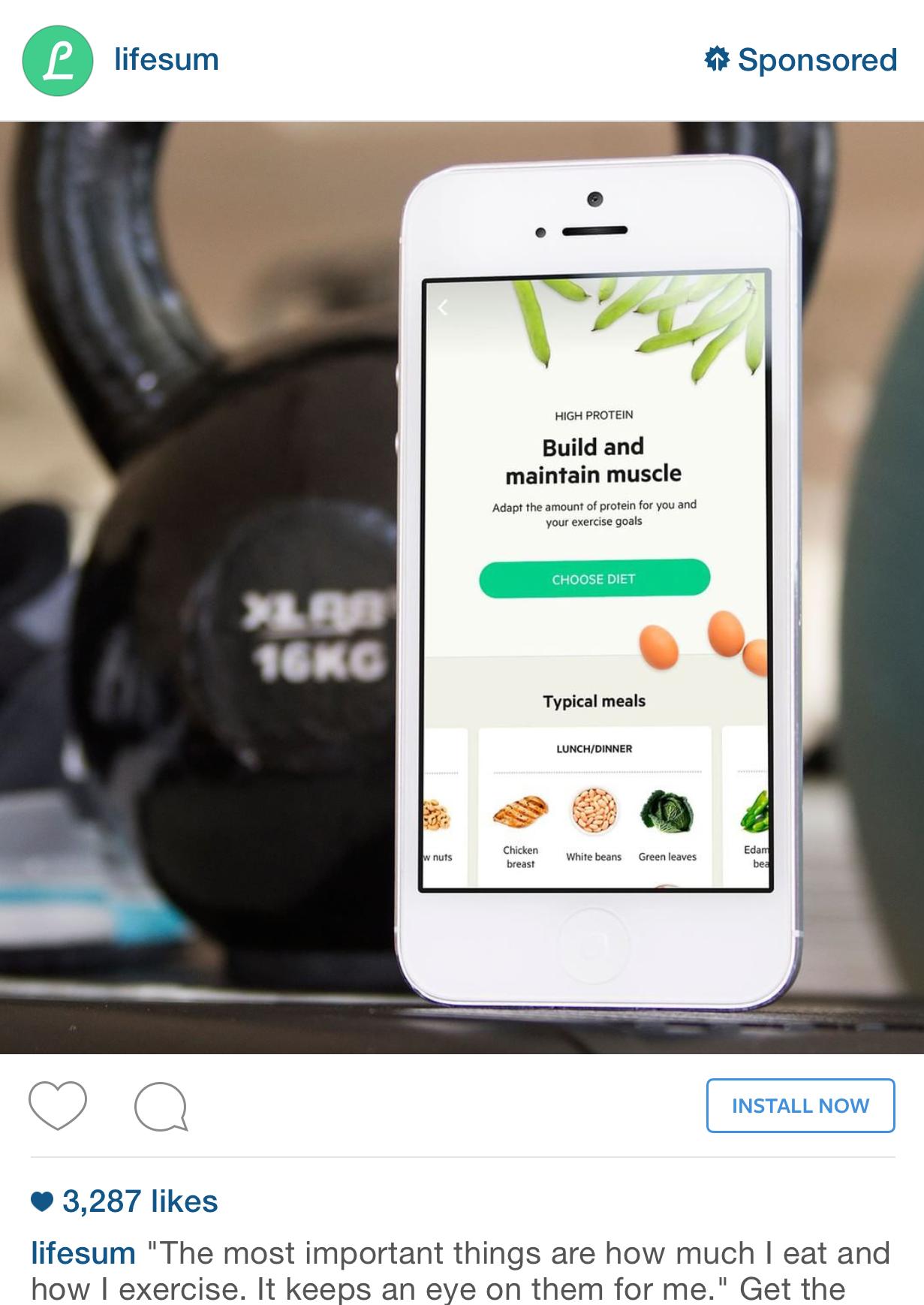 Life Sum App Install Instagram Ad Example Instagram Ads Instagram Ads