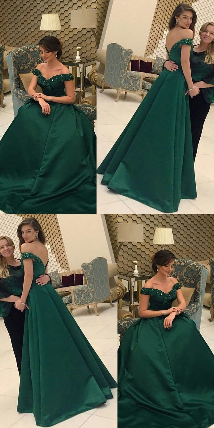 Dark green prom dresslong prom dressescharming prom dresses