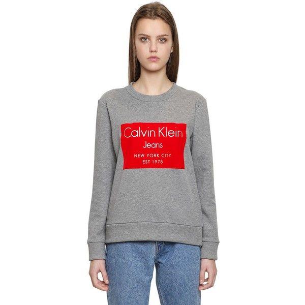 Calvin Klein Jeans Women Hansi Flocked Print Cotton Sweatshirt ($140) ❤  liked on Polyvore