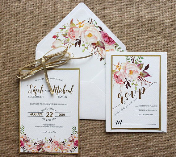 Gold Foil Floral Wedding Invitation Suite Rose Gold Blush Pink Etsy Floral Wedding Invitations Gold Wedding Invitations Foil Wedding Invitations