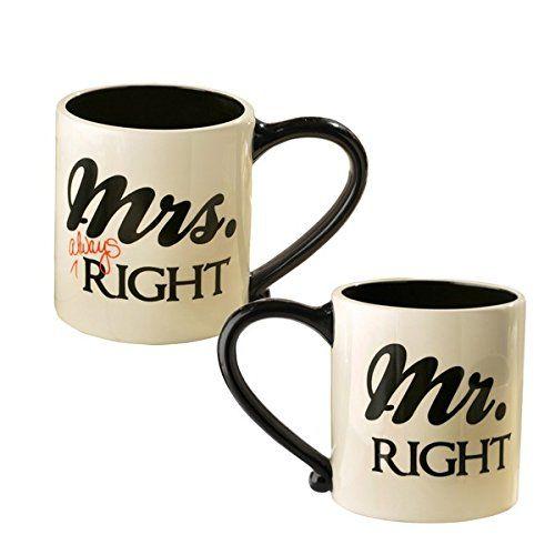 "ALWAYS Right/"" Mug Set /""Mr 2 Ceramic Mugs in Gift Box Right /& Mrs"