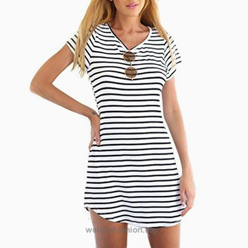 Tenworld Women Crew Neck Short Sleeve Striped Loose T-Shirt Mini Dress(S – XXXL) (XXL = US 122)  BUY NOW     $6.79    NOTE: Please compare the detail sizes with yours before you buy!!! Use similar clothing to compare with the size.  Size Details:  Size:  S: Bust—-85cm/33.5″, Waist—-65 ..