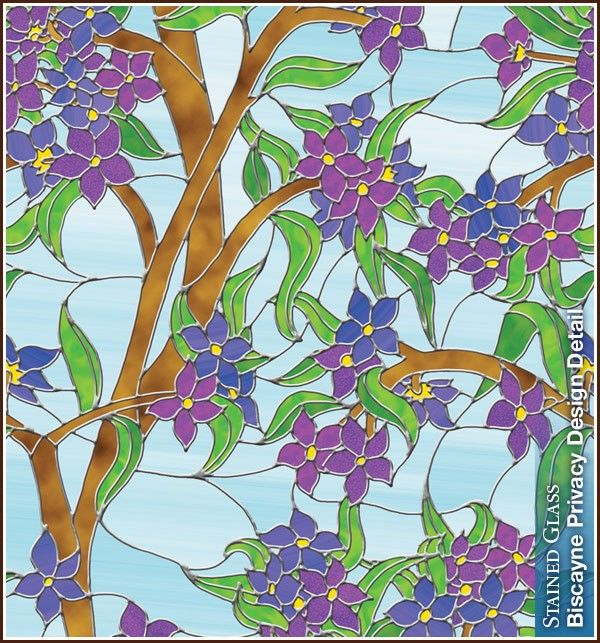 Blue Floral Privacy Stained Glass Window Film Clings