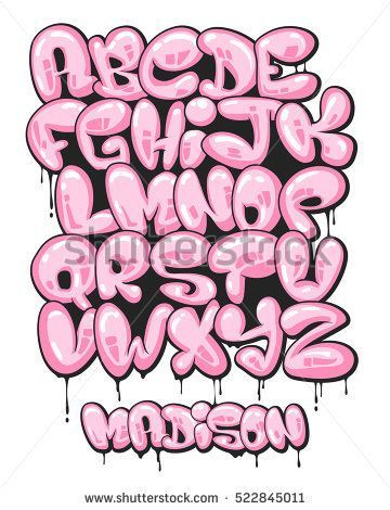 graffiti bubble shaped alphabet set fonts graffiti. Black Bedroom Furniture Sets. Home Design Ideas