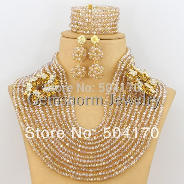 2017 Champagne Gold African Beads Jewelry Set New Arabic Indian Bridal Sets Free Shipping GS076