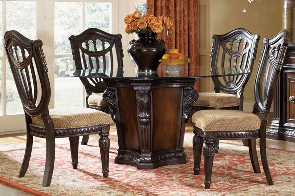 Cabernet Round Glass Pedestal Table 4 Chairs Kitchen Fairmont