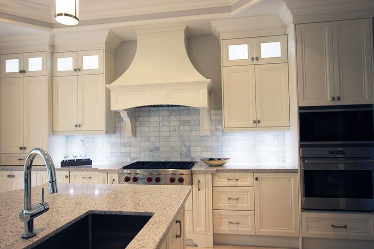 Classic white kitchen Built-in stove Canopy hood range Double stack cabinets & pictures of kitchens with oven canopy | ... kitchen Built-in ...
