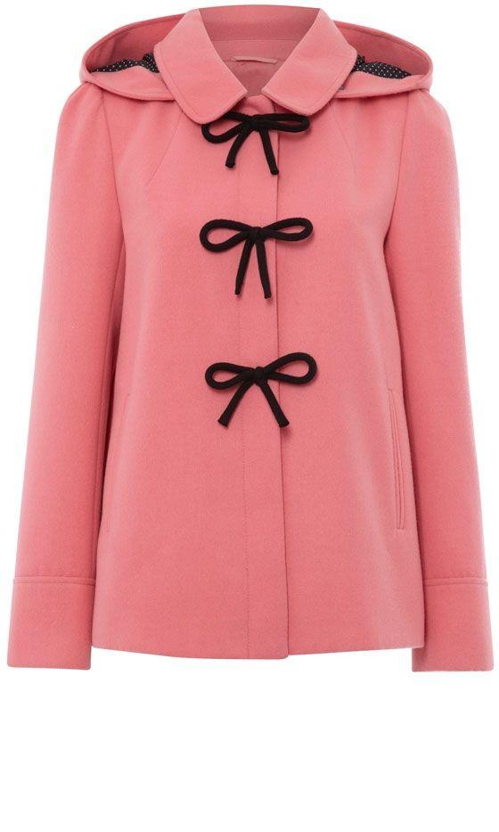 ..Pink Duffle Bow Coat