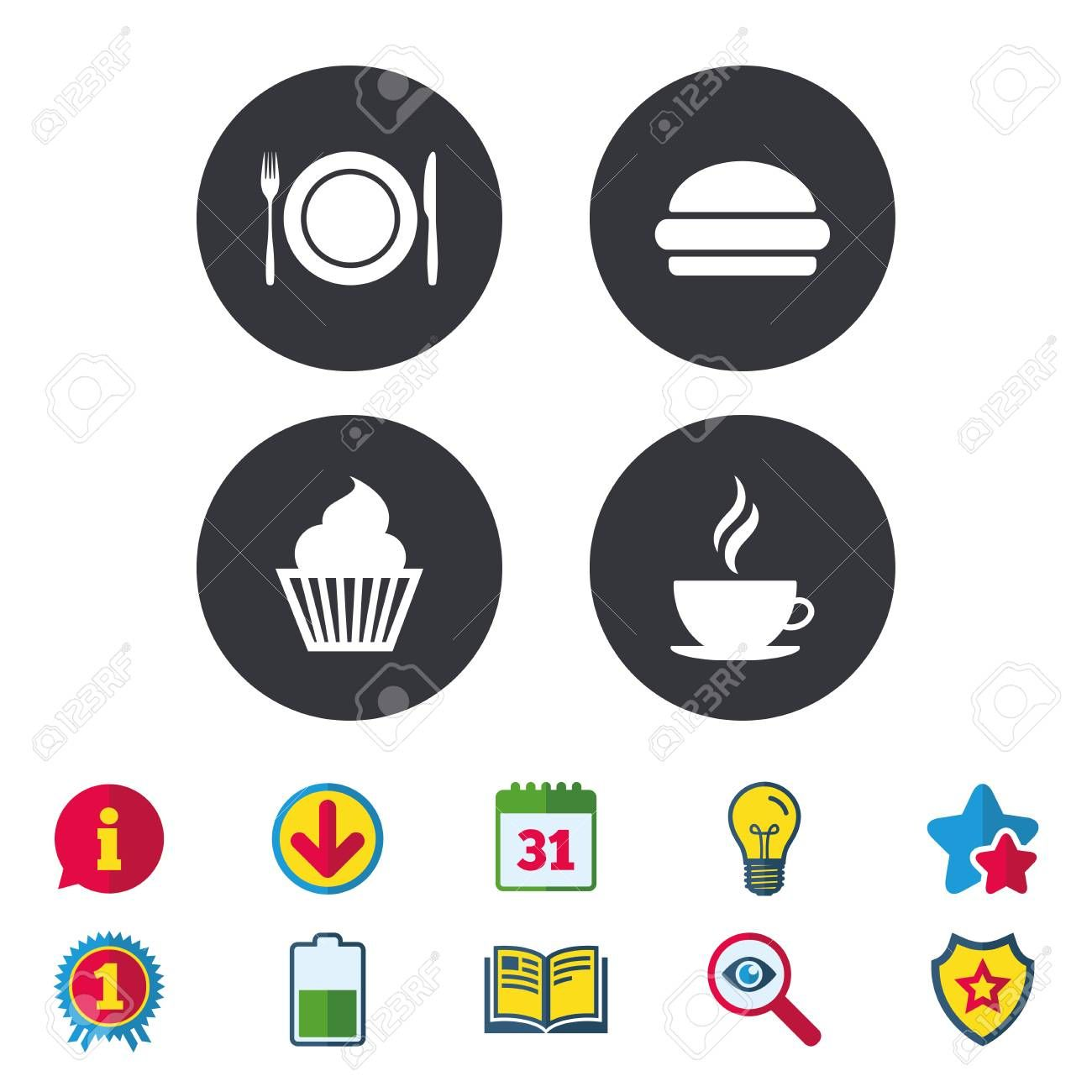 Food and drink icons Muffin cupcake symbol Plate dish with fork and knife sign Hot coffee cup and hamburger Calendar Information and Download signs Stars Award and Book i...