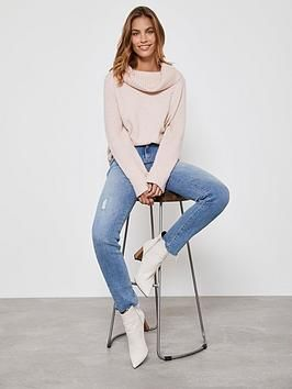 Easy Funnel Chunky Knit Jumper - Pink