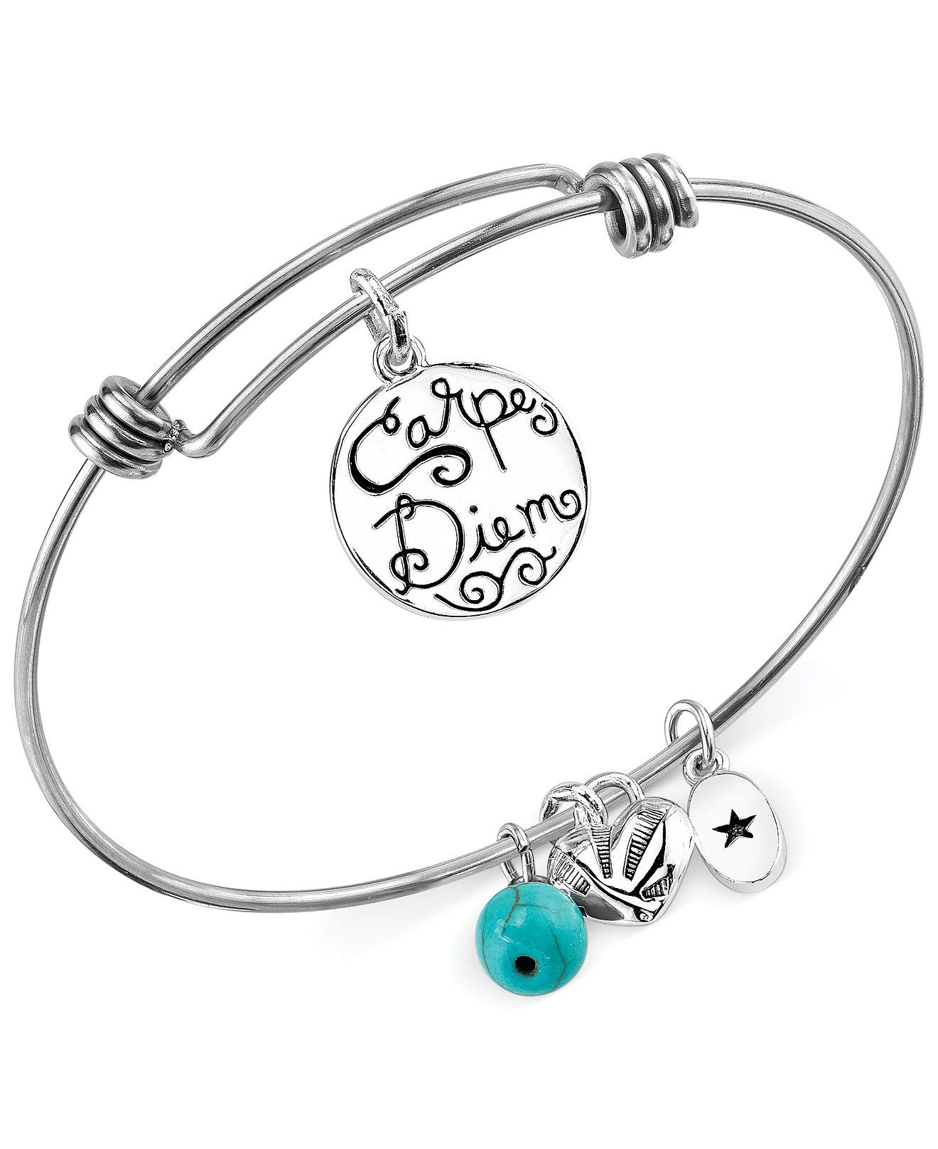 Unwritten Carpe Diem Charm and Manufactured Turquoise 8mm