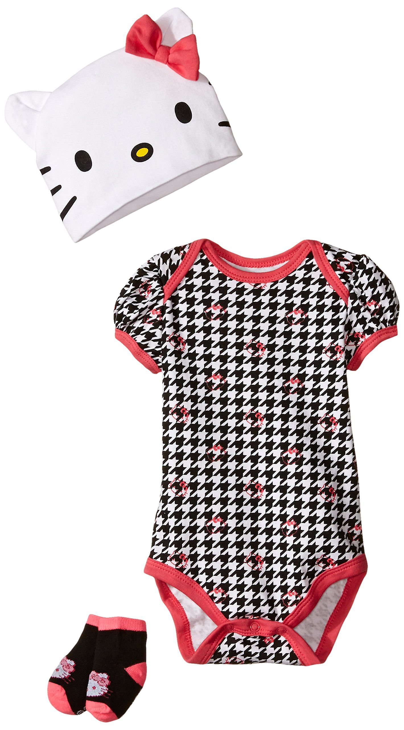 Hello Kitty Baby Girls Newborn 3 Piece Houndstooth Set, Dark Pink,