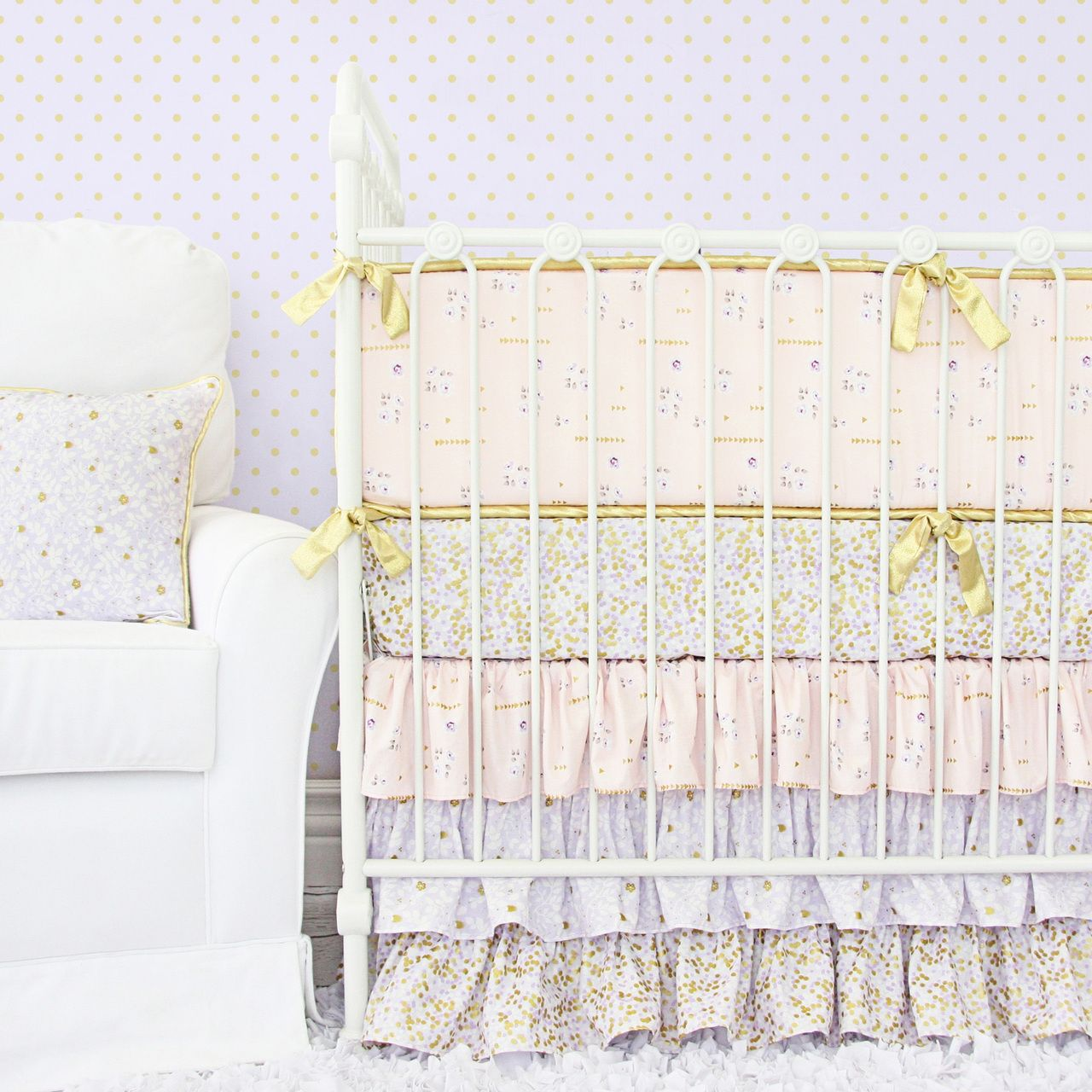 Lilac And Gold Sparkle Baby Bedding Baby Bedding Sets Baby Bed Baby Girl Crib Bedding