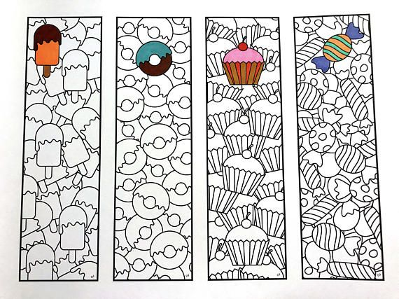 Sweets bookmarks pdf zentangle coloring page