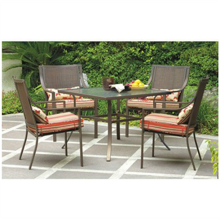 outdoor dining set 5 piece patio furniture 4 seats garden chairs table cushions