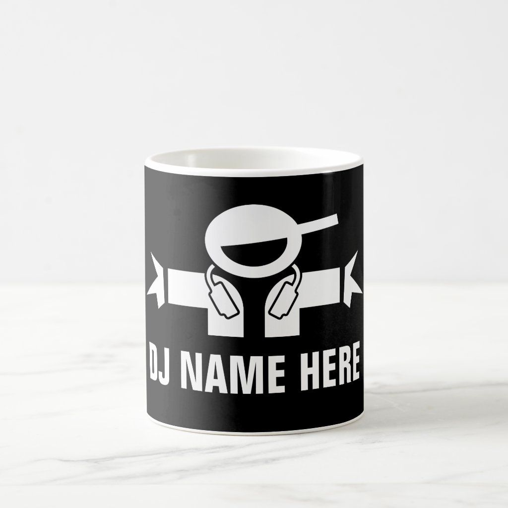 Custom DJ Disk Jockey coffee mug for music deejay. Add your own artist name, funny quote, slogan or saying. Cool diskjockey logo with headphones. Black and white 11oz drinkware for home or office. Personalized cup for discjockey, entertainment business, performer, entertainer, club, bar, pub, company, birthday party etc. DIY merchandise and marketing materials. Size: 11 oz. Gender: unisex. Age Group: adult.