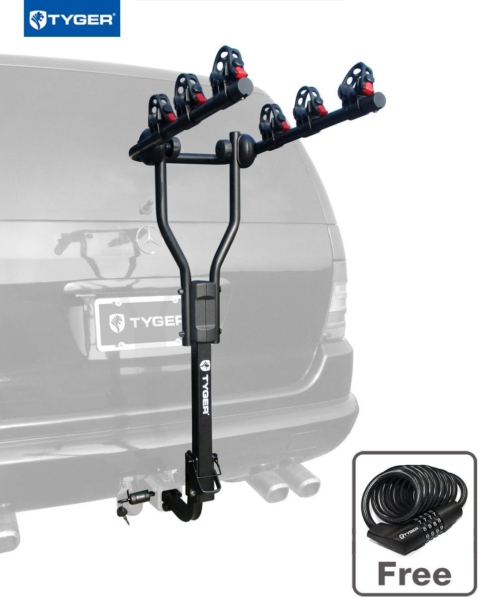 Tyger Tg Rk3b101s 3 Bike Hitch Mount Bicycle Carrier Rack Free Hitch Lock Cable Lock Fits Both 1 25 And 2 Hitch Receiver With Images Hitch Bike Rack Bike Hitch Bike