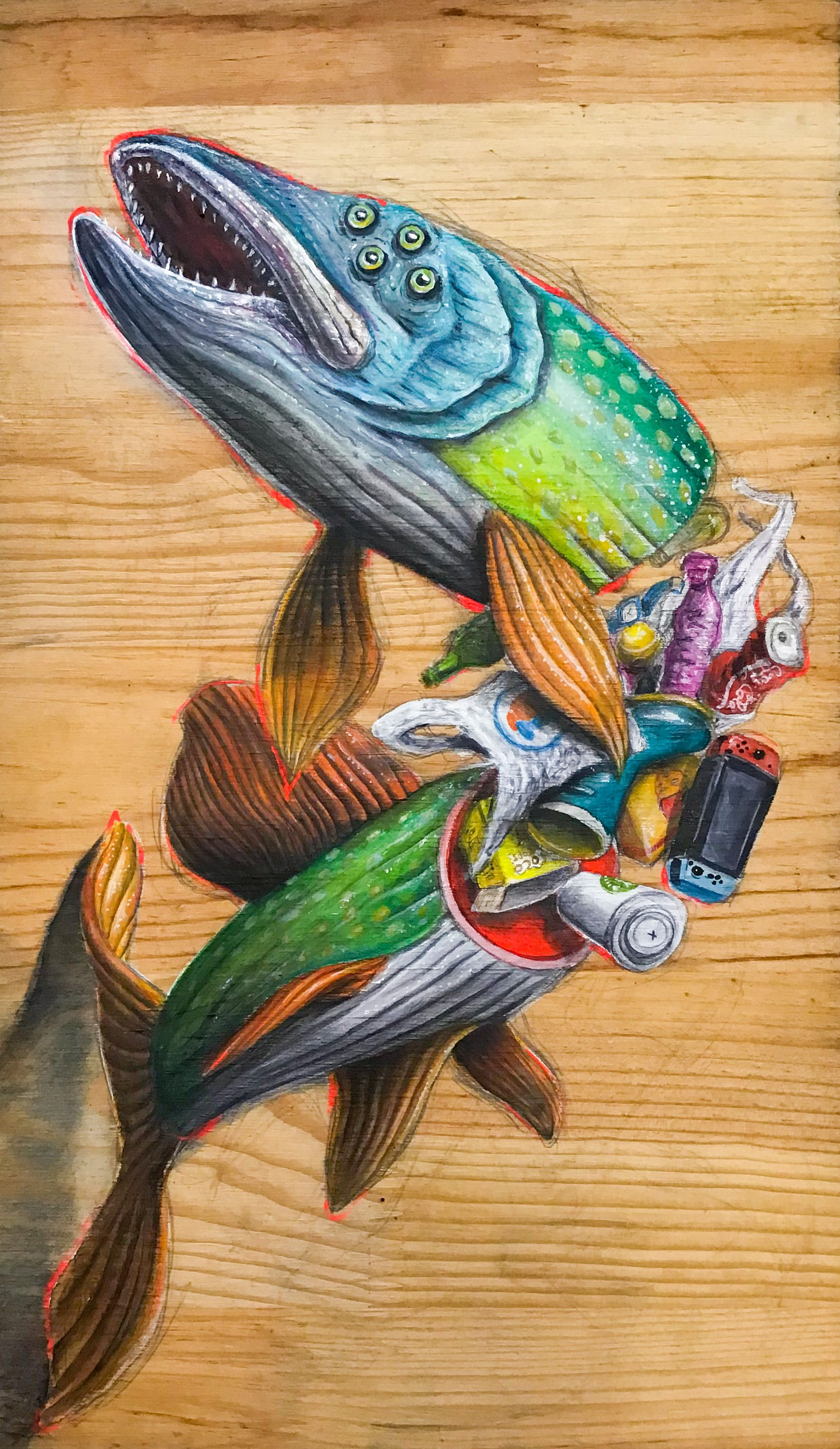 Technique mixte sur bois - 2019 - série: 7ème Continent | #fish #art #artist #paintonwood #painting