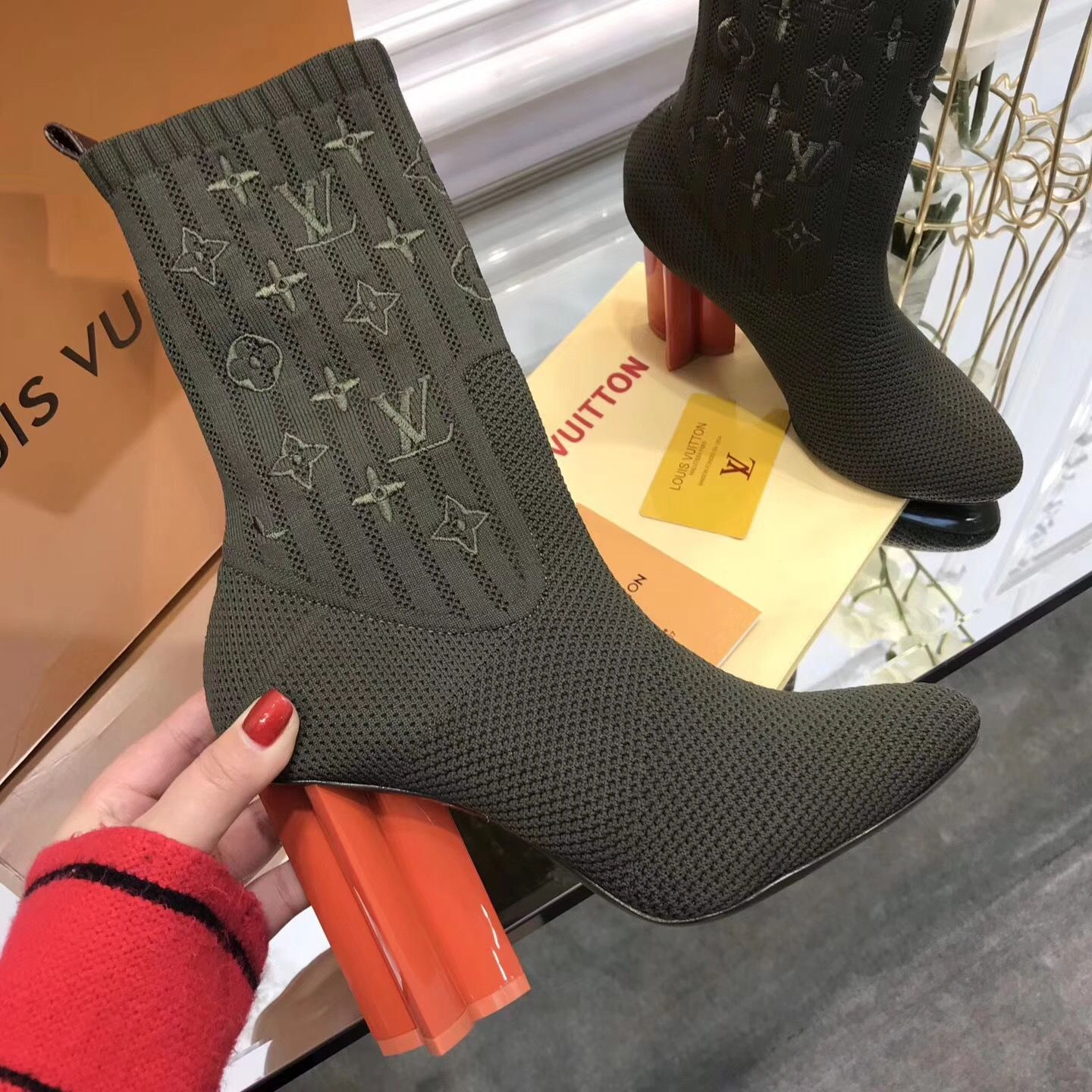 1575167a2d3 Louis Vuitton lv woman ankle sock boots high heels