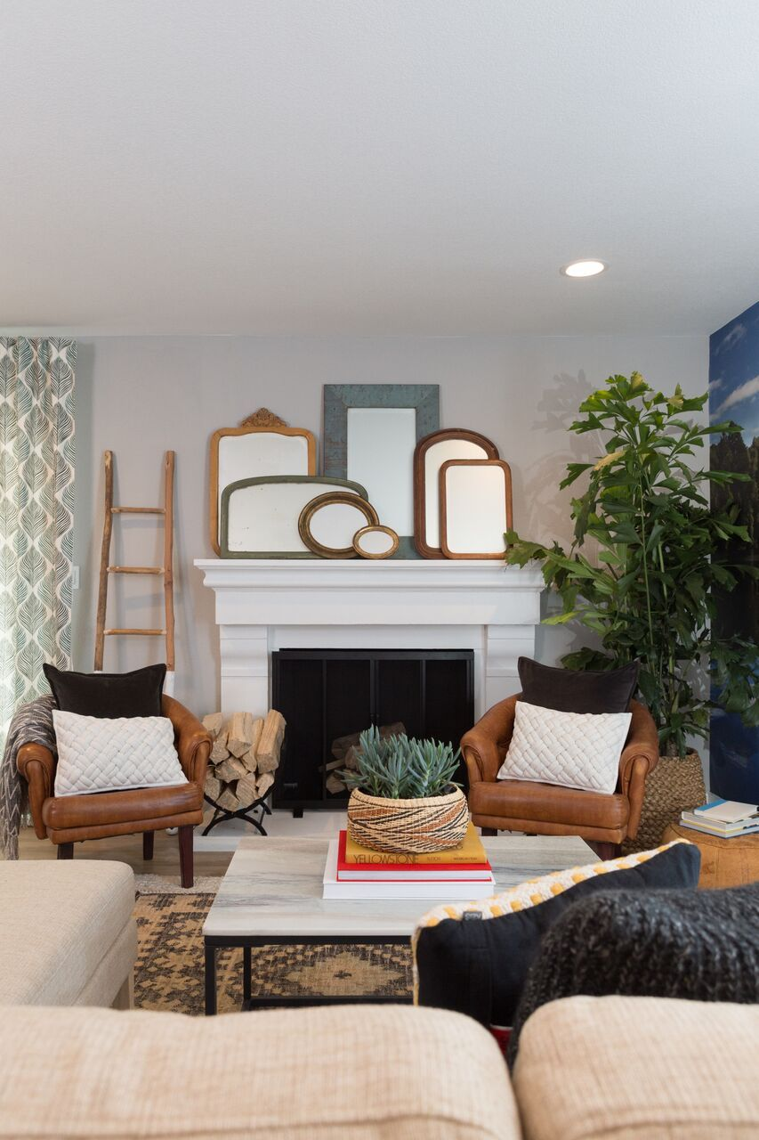 Farmhouse Meets Bungalow In This Living Room As Designed By