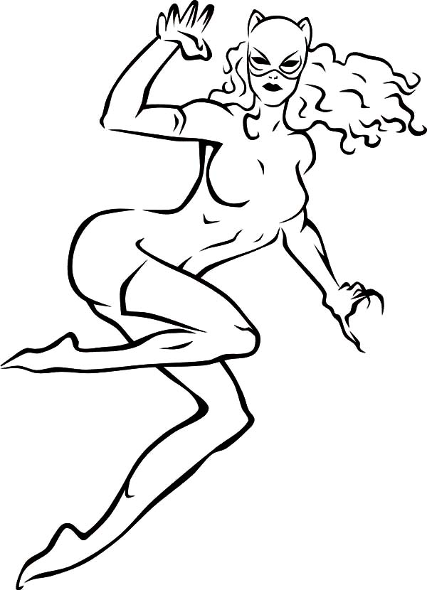 Cat Women Flying Kick Coloring Pages Best Place To Color Di 2020